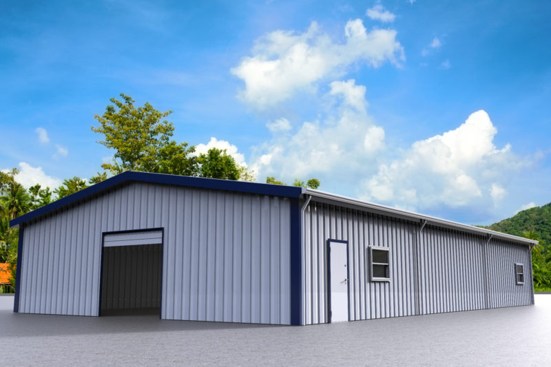 Gray steel building with blue trim, open overhead garage door and windows.