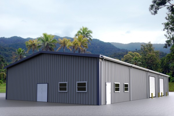 Gray steel building with blue trim, walk doors, windows and overhead garage doors