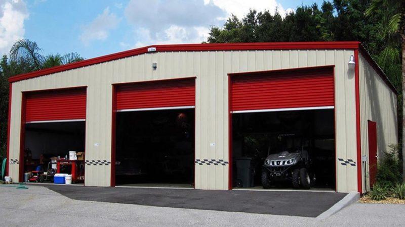 Red & Tan Steel Building Garage