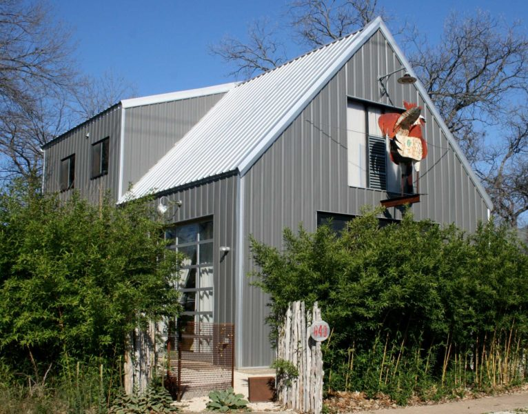 Gray Residential Workshop Steel Building. 30x48 located in Austin,TX.