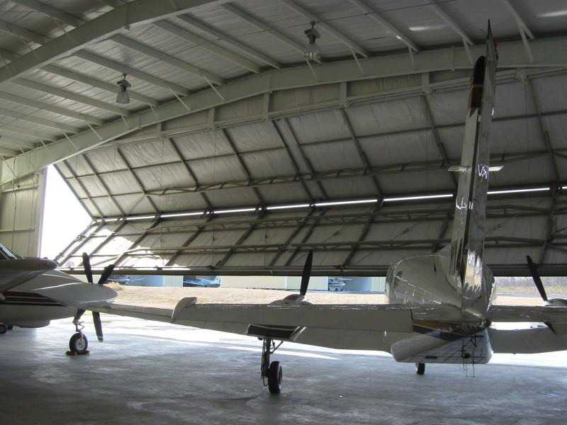 70x120 tan Aviation Bifold Hangar located in Septlles-Quebec, Canada