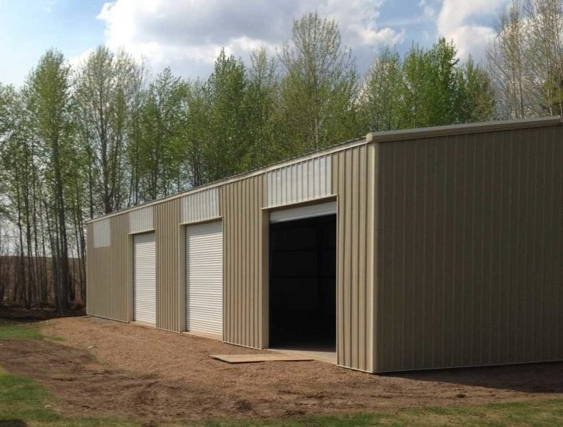 40x96 tan Agricultural Storage Steel Building located in Athabasca, Alberta, Canada.