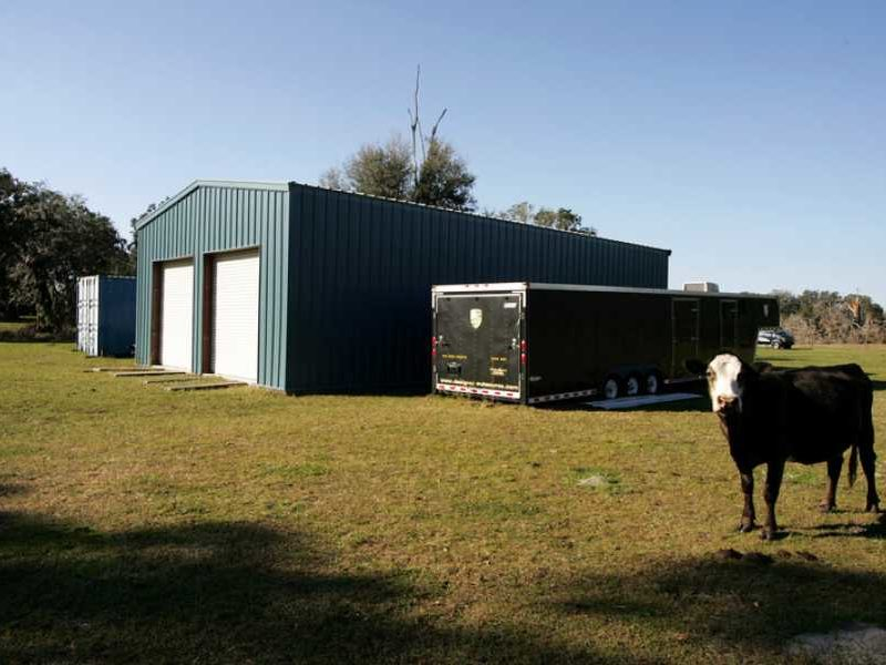 30x50 Blue Agricultural Storage Steel Building located in Clearmont, Florida