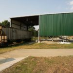 40x75 Green Railroad Canopy Steel Building located in Louisville Kentucky