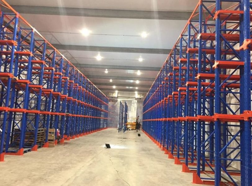 Commercial Refrigeration, cold storage warehouse with racks