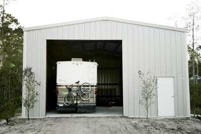 gray steel building RV garage