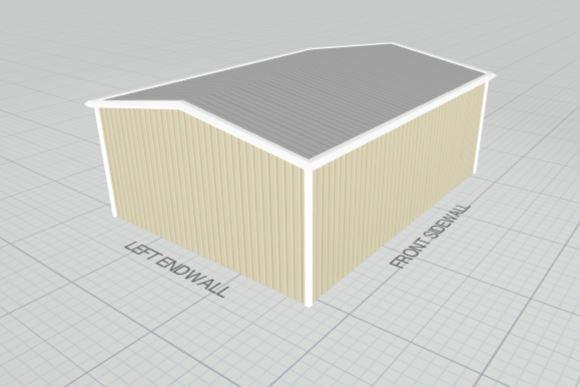 Beige steel building with galvalume roof