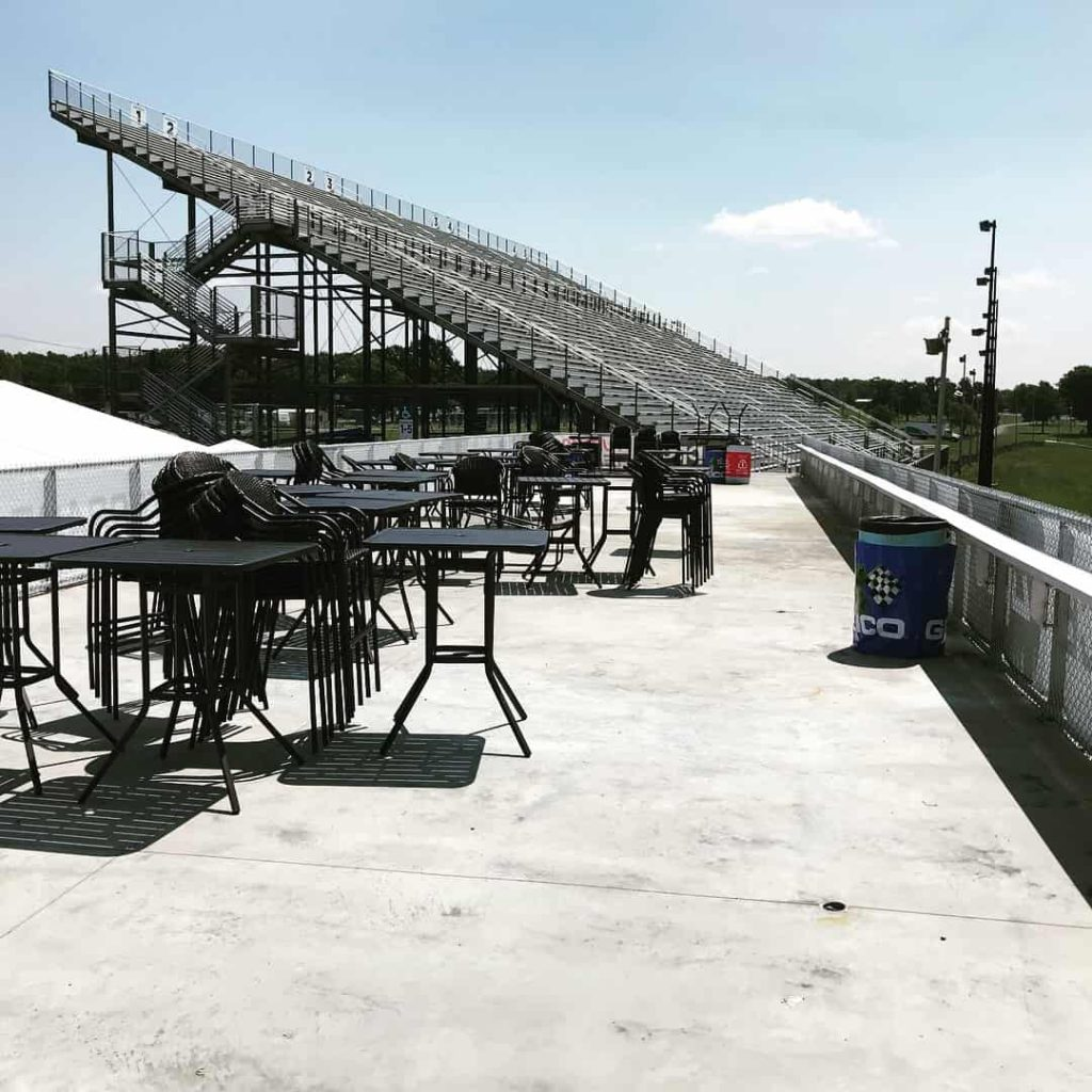 Watkins Glen Racetrack silver seating rows and bleachers