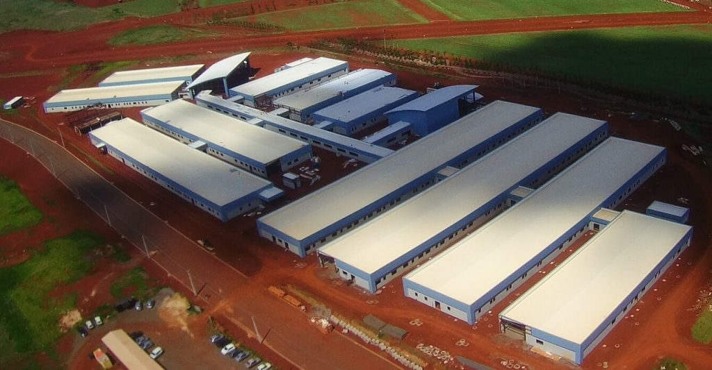 Pre-engineered steel building construction for Children's Hospital in Maringa, Brazil, aerial