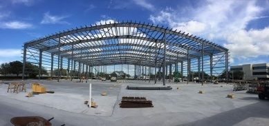 Exposed steel building framing on a jobsite