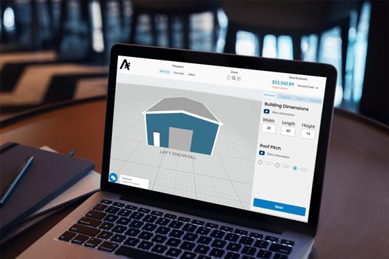 3D Steel Building Design platform with instant pricing, steel building design on laptop