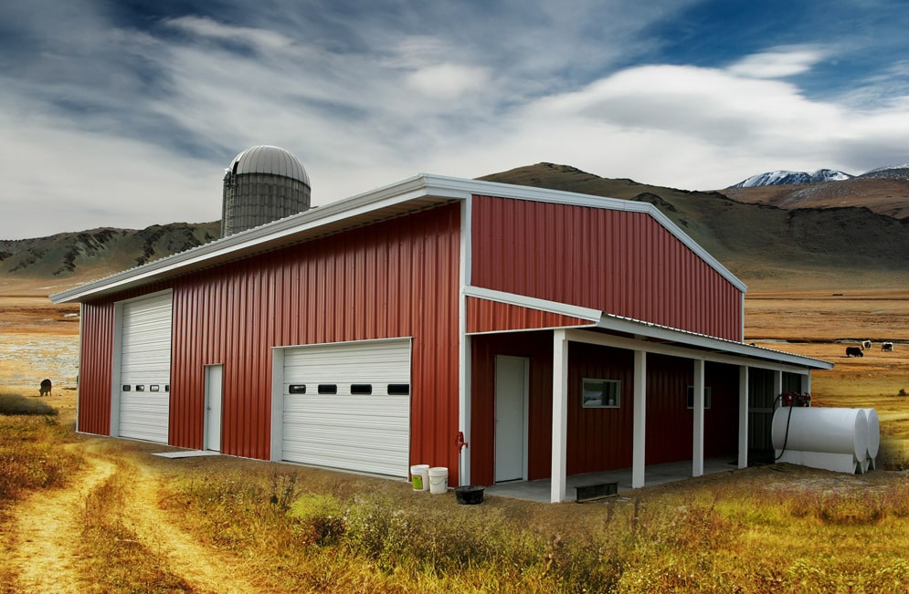 Red steel building barn