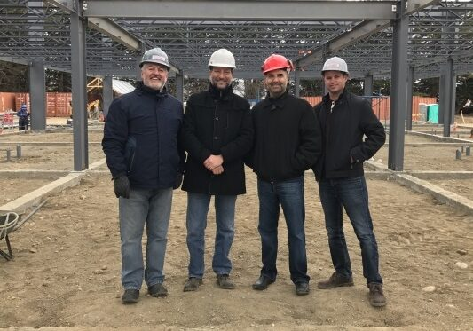 Allied Steel Buildings employees on jobsite in Punta Arenas in Chile