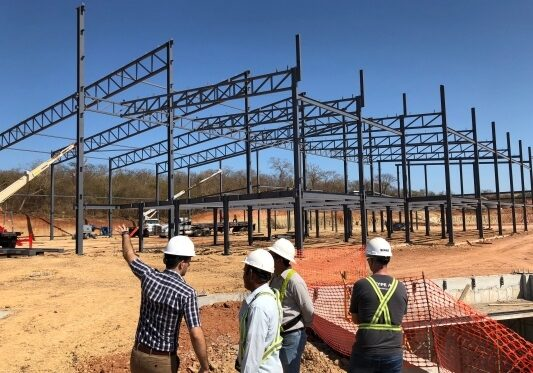Allied Steel Buildings employees on jobsite providing installation support