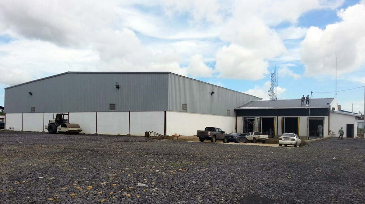 Exterior view of Steel commercial building in Trinidad and Tobago