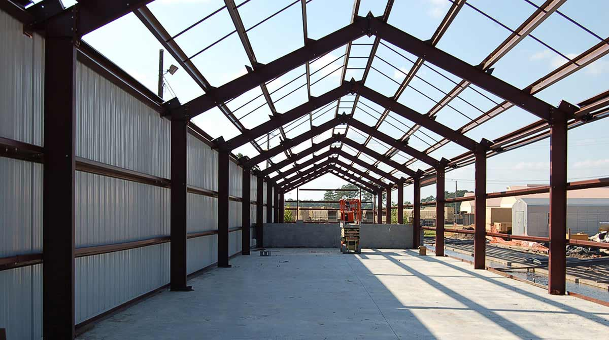 Interior view of steel framework for government building