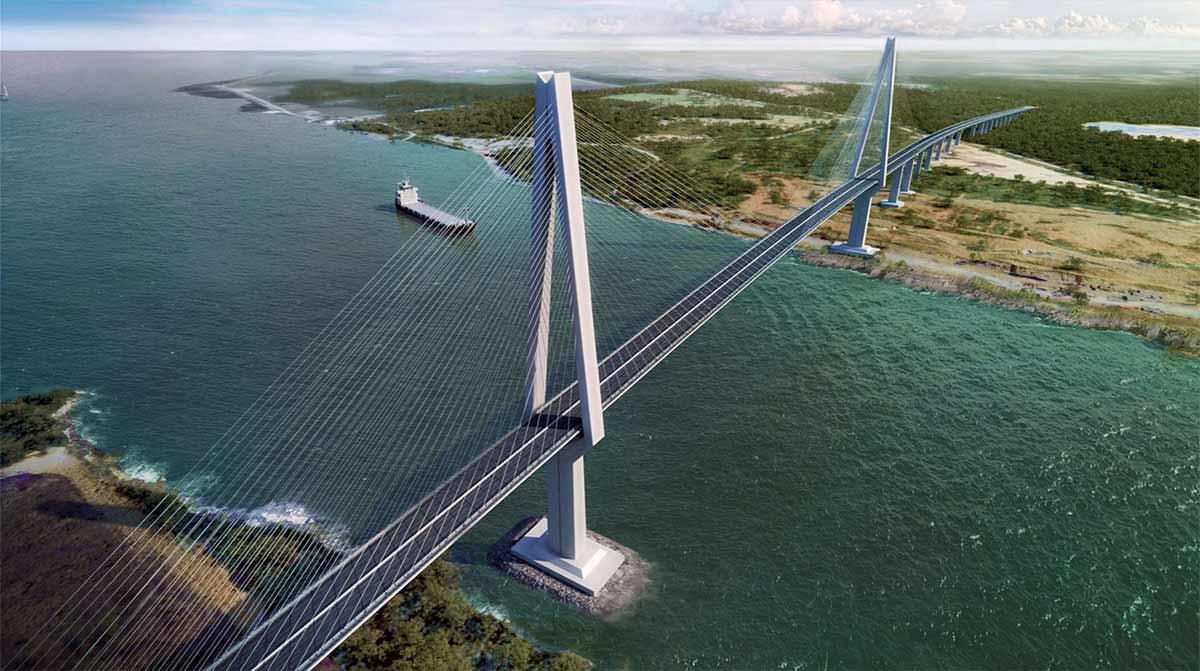 Aerial view of Industrial bridge ACP Puente Atlantico