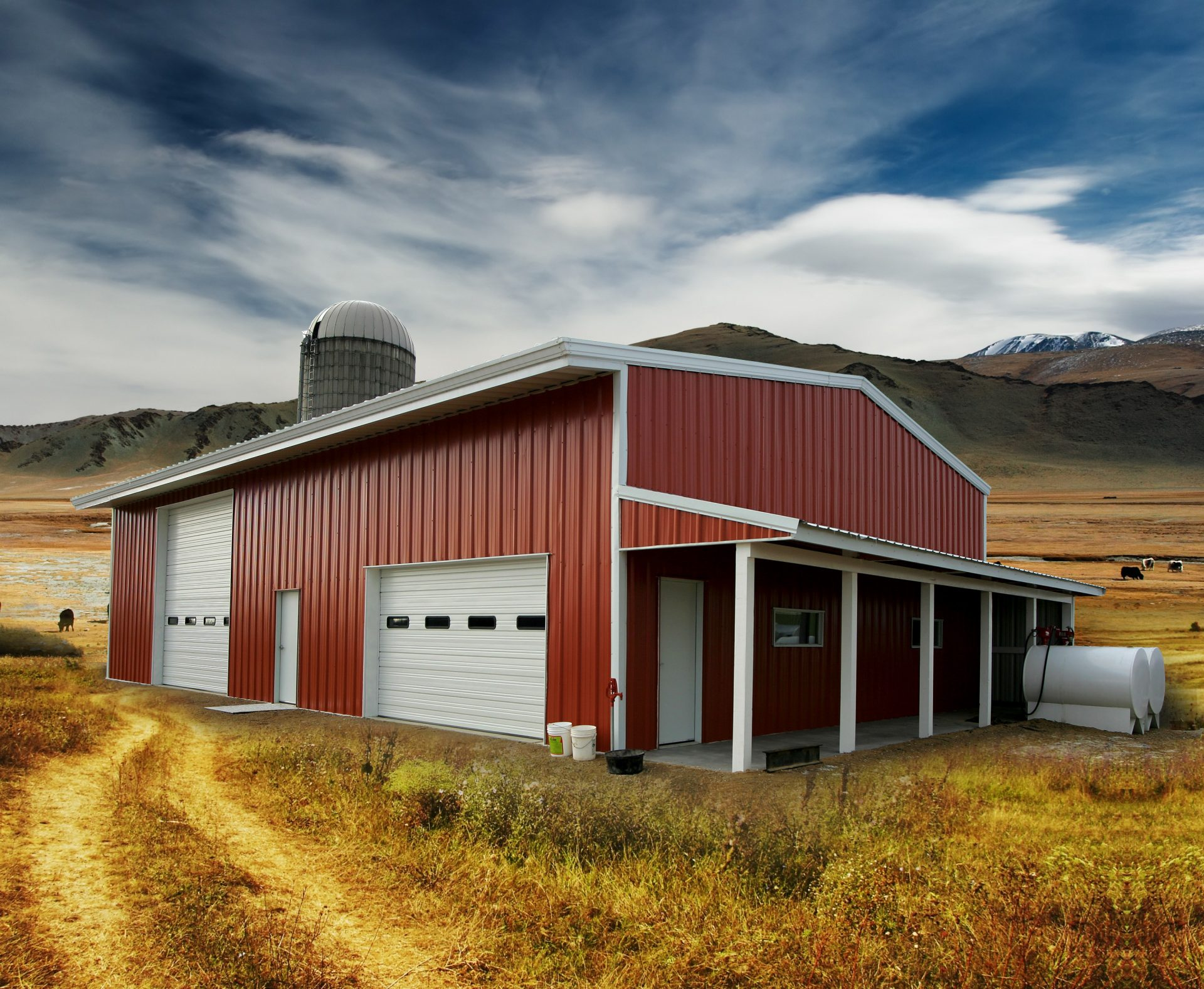 Red barn allied steel buildings for Steel shed house